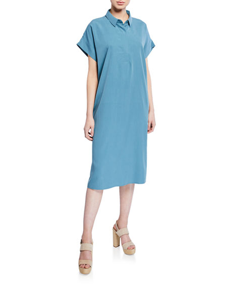 Eileen Fisher Dresses PLUS SIZE SAND-WASHED COLLARED SHIRTDRESS