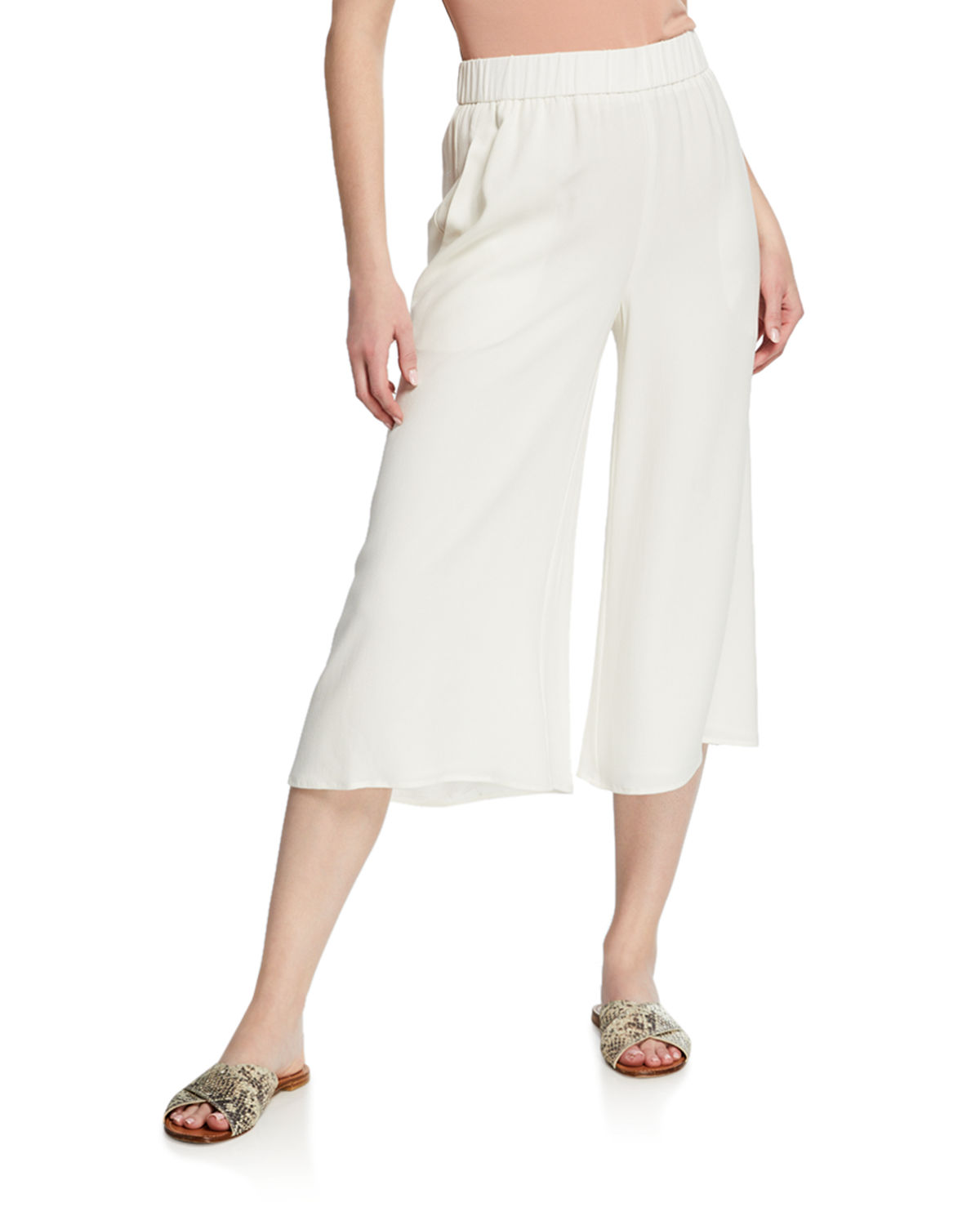 Wide Leg Cropped Silk Crepe Pull On Pants by Eileen Fisher