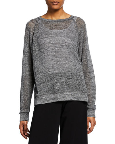 Eileen Fisher Long-Sleeve Sheer Mesh Cotton Pullover