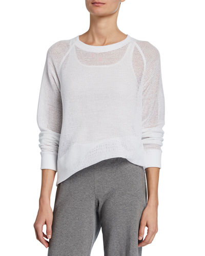 Long-Sleeve Sheer Mesh Cotton Pullover