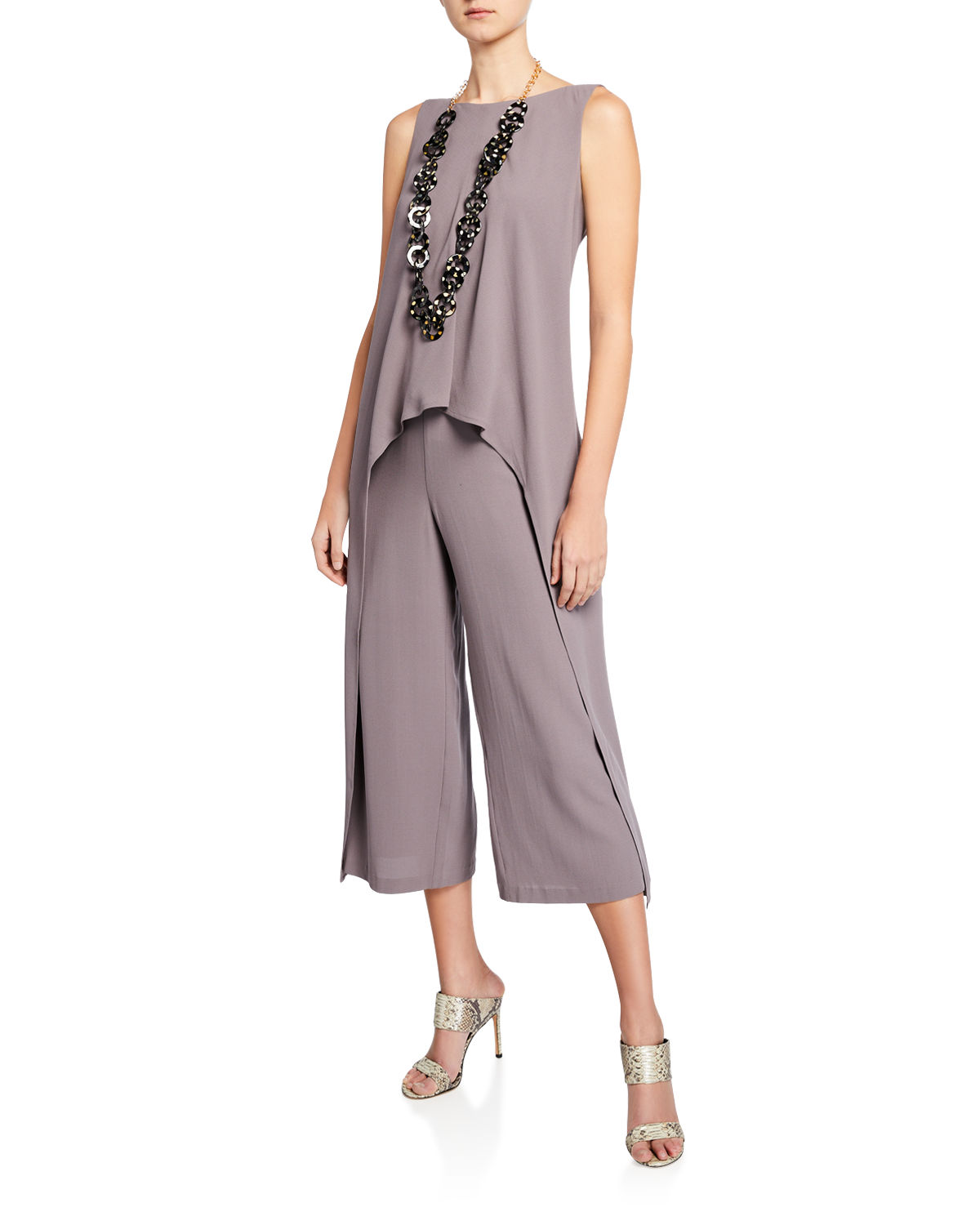Eileen Fisher Suits DRAPED SILK CREPE JUMPSUIT
