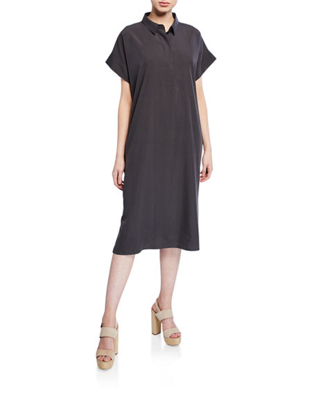 Eileen Fisher Dresses SAND-WASHED COLLARED SHIRTDRESS