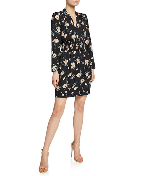 Rebecca Taylor Dresses DANIELLA FLORAL-PRINT LONG-SLEEVE SMOCKED-WAIST DRESS