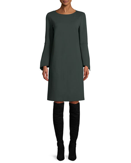 Lafayette 148 Dresses PALOMA PUNTO MILANO DRESS W/ TRUMPET SLEEVES