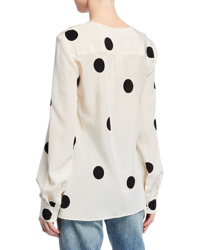 Derek Lam 10 Crosby Polka-Dot Long-Sleeve Blouse