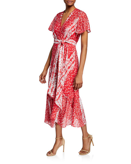 Tanya Taylor New Blaire Floral-Print Short-Sleeve Wrap Dress