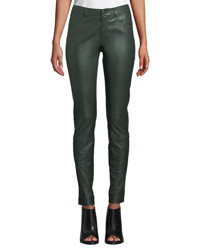 7e65e1fc5c2 Quick Look. Lafayette 148 New York · Mercer Mid-Rise Leather Skinny Jeans.  Available in Spruce