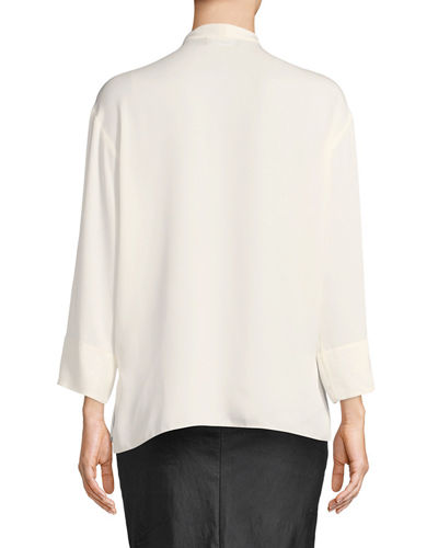 Relaxed Tie-Neck Long-Sleeve Silk Wrap Top