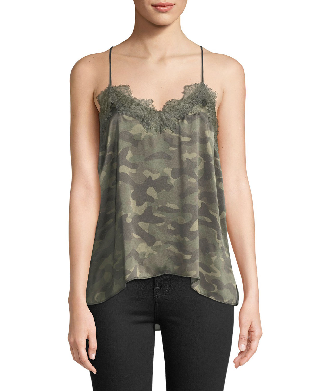 Cami Nyc The Racer Silk Charmeuse Camisole W Lace