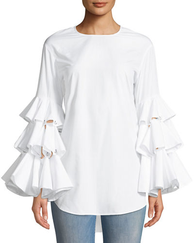 Ruffle-Sleeve Poplin Crewneck Top