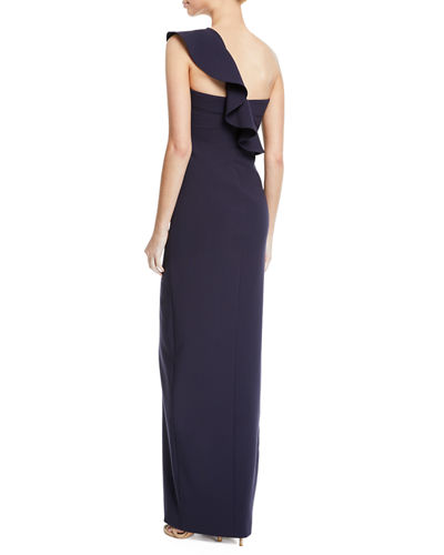 Halsey Ruffle One-Shoulder Gown