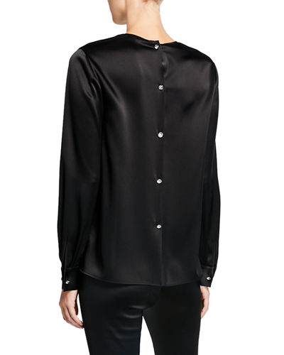 St. John Collection Satin Button-Back Blouse