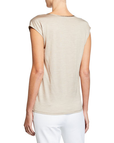 St. John Collection Silk Jersey Scoop-Neck Tee