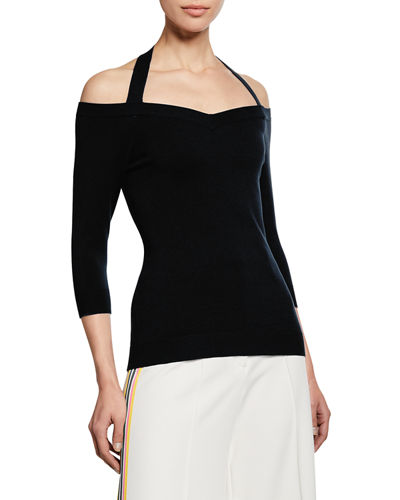 Meghan Off-the-Shoulder Halter-Neck Top