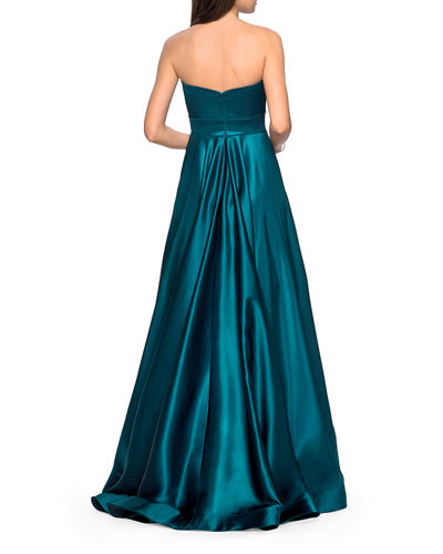 Strapless Sweetheart Satin Ball Gown with Banded Waist
