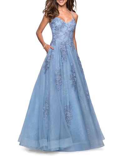 V-Neck Sleeveless Ball Gown with Floral Lace Applique