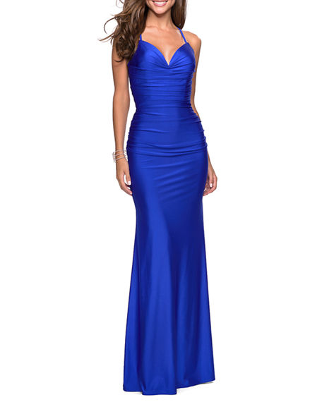 La Femme SWEETHEART SLEEVELESS RUCHED JERSEY GOWN WITH STRAPPY-BACK