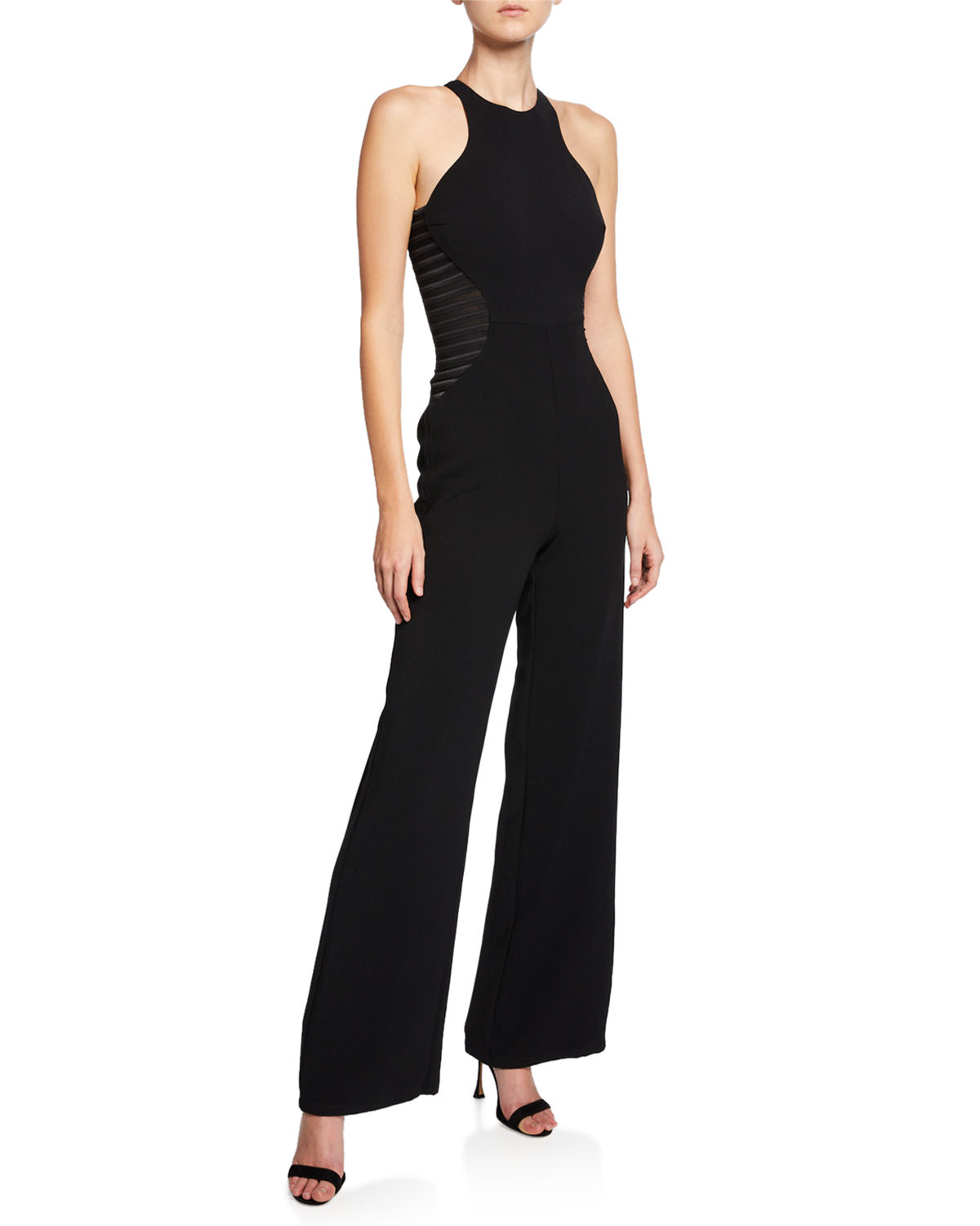 4de27f28cd4 Halston HeritageSleeveless Wide-Leg Crepe Jumpsuit with Stripe Applique  Detail