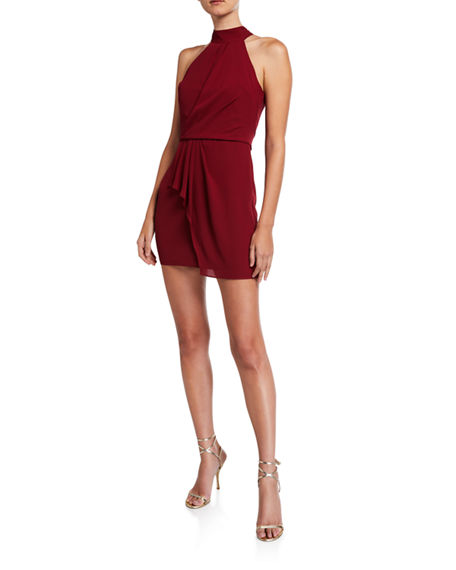 Halston F2 Sleeveless Mock-Neck Dress with Drape Front Detail