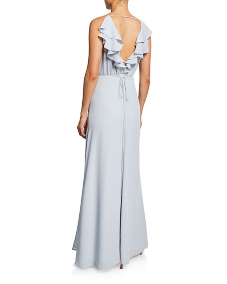 Image 2 of 2: WAYF The Emma Ruffle-Neck Sleeveless Wrap Gown