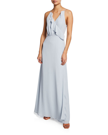 Image 1 of 2: WAYF The Emma Ruffle-Neck Sleeveless Wrap Gown