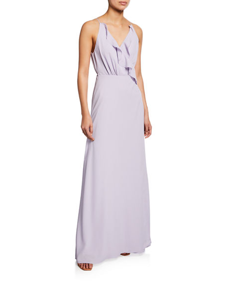 WAYF The Emma Ruffle-Neck Sleeveless Wrap Gown