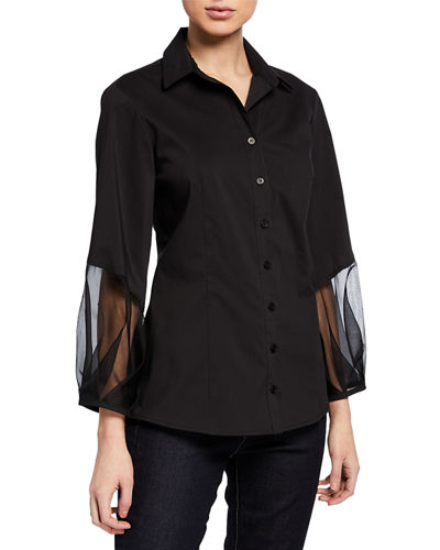 Mercy Poplin-Detail Silk Organza Sleeve Blouse