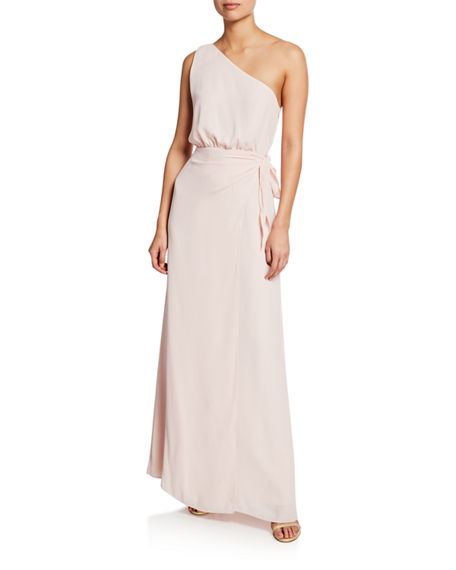 WAYF The Penny One-Shoulder Gown with Tie-Waist