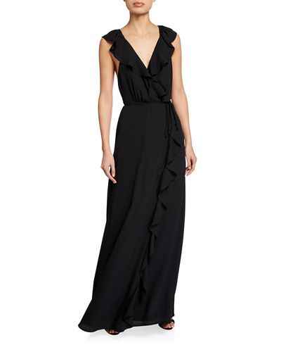The Elise Open-Back Ruffle Wrap Gown