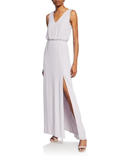 The Bella V-Neck Sleeveless Gown with Front Slit