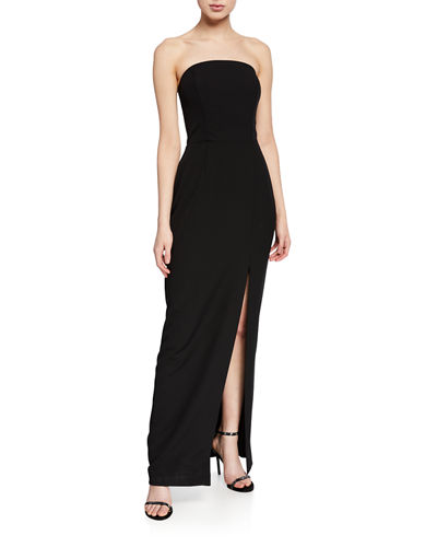 The Milla Strapless Bonded-Bodice Column Gown w/ Thigh Slit
