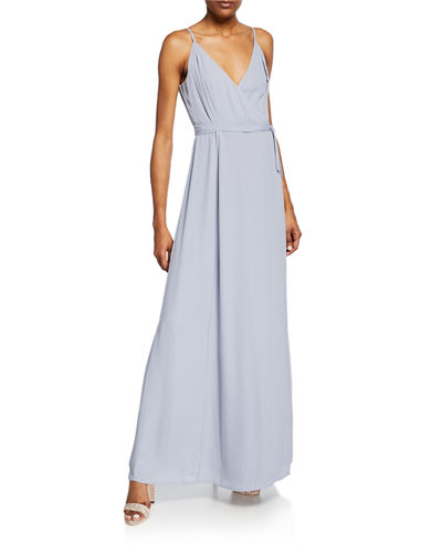 The Angelina Sleeveless Wrap Gown with Front Slit