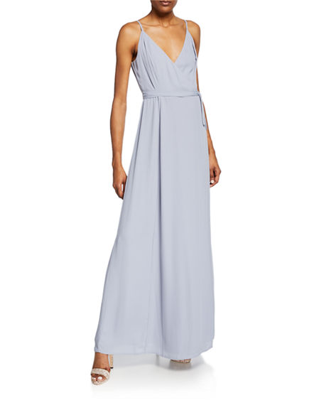 Wayf Tops THE ANGELINA SLEEVELESS WRAP GOWN WITH FRONT SLIT