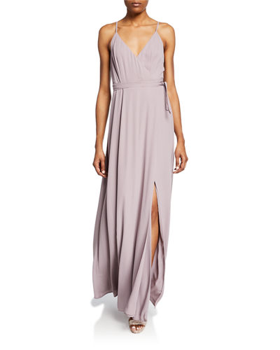 5b4e532d7a Quick Look. WAYF · The Angelina Sleeveless Wrap Gown with Front Slit