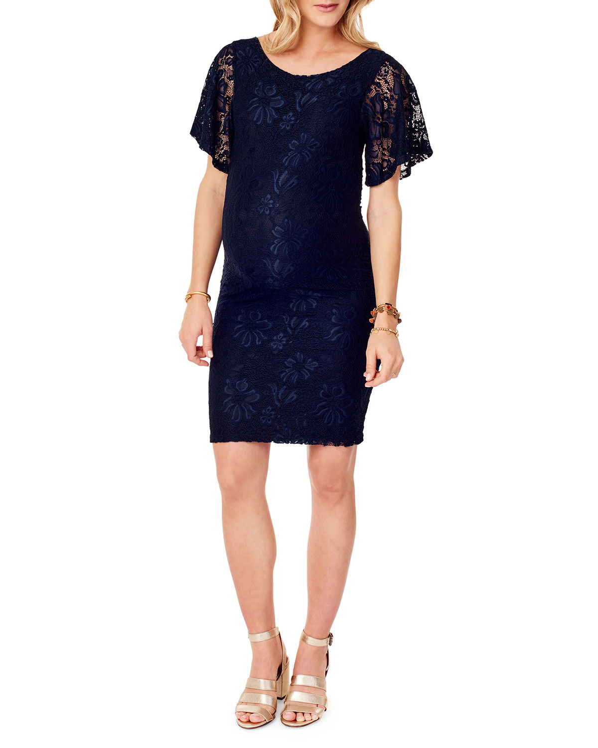 Maternity Flutter-Sleeve Lace Cocktail Dress