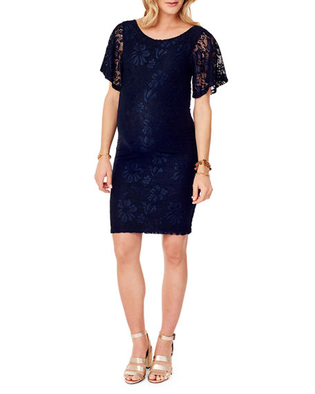 Ingrid & Isabel MATERNITY FLUTTER-SLEEVE LACE COCKTAIL DRESS