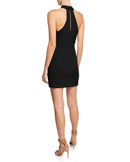 Image 2 of 2: Halston Sleeveless Wrap-Neck Fitted Dress