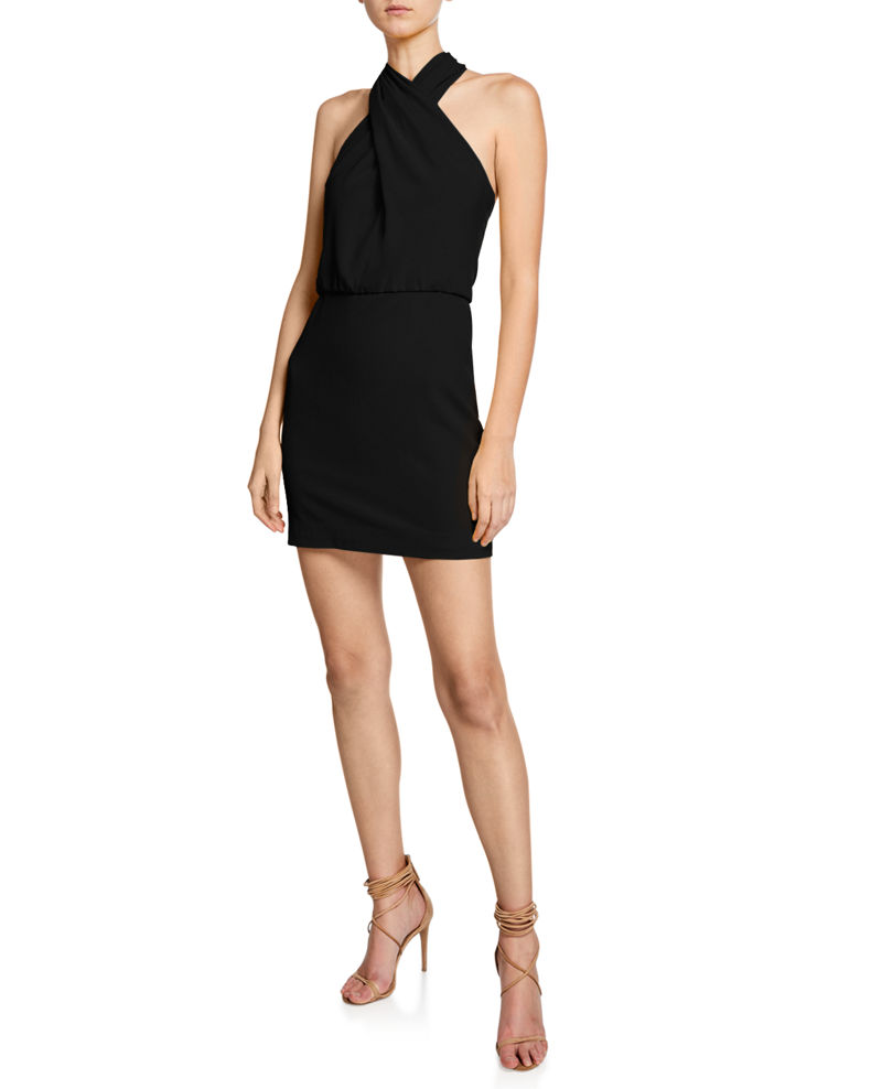 Halston Sleeveless Wrap-Neck Fitted Dress