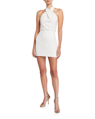 Sleeveless Wrap-Neck Fitted Dress