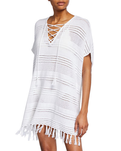 Lace-Up Tassel Trim Beach Sweater