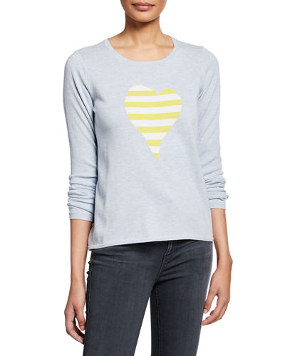 Fool For Love Striped Heart Long-Sleeve Cotton Sweater