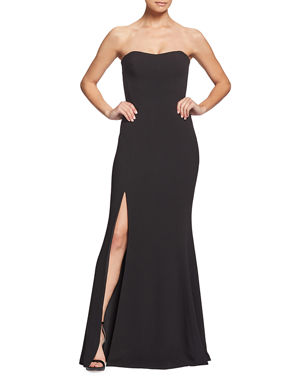 81dec00aaa8e Dress The Population Ellen Strapless Gown with Thigh Slit