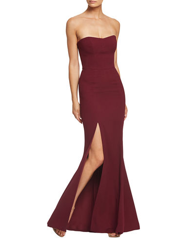 Ellen Strapless Gown with Thigh Slit