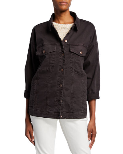 Eileen Fisher Organic Stretch-Cotton Relaxed Denim Jacket