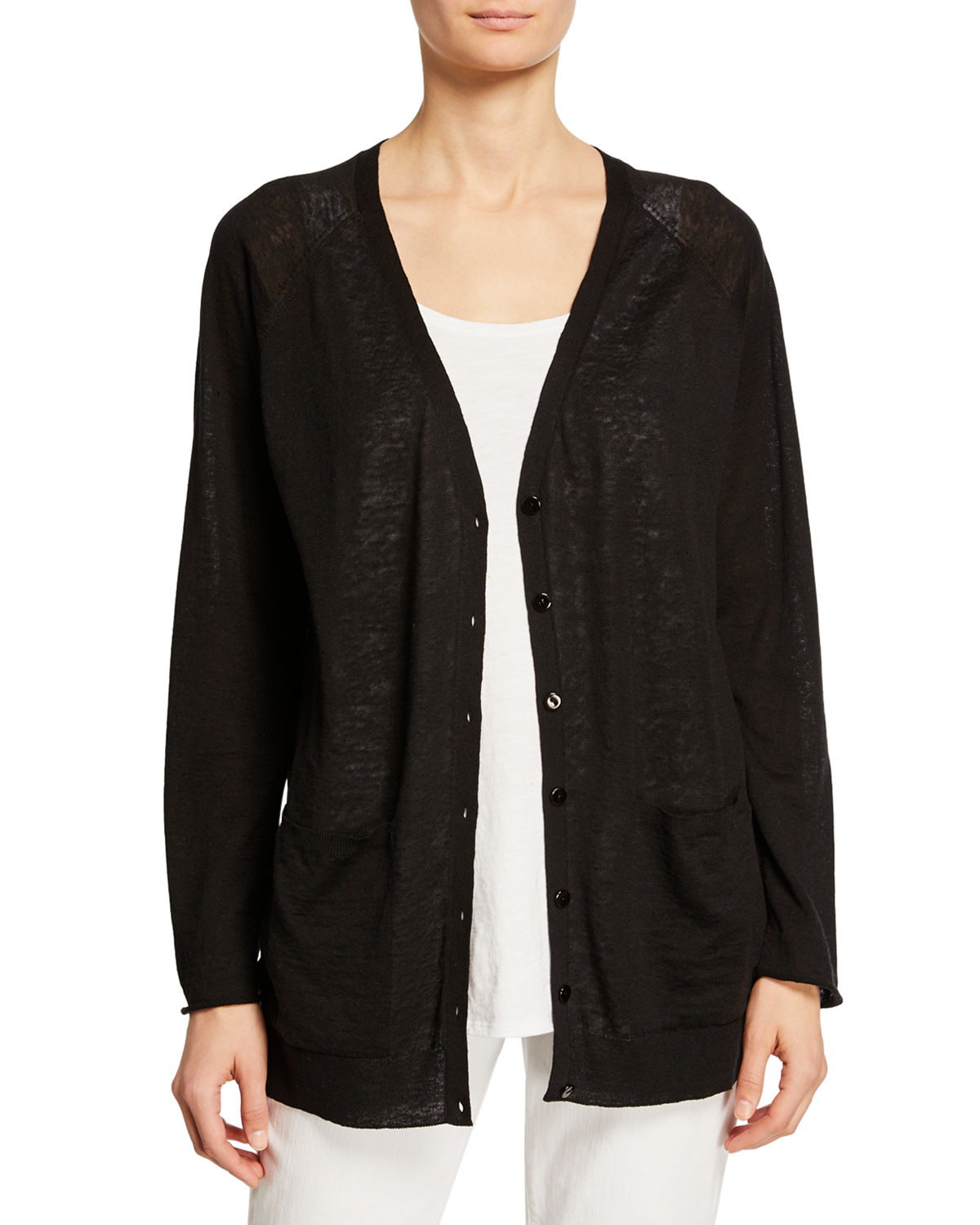 Eileen Fisher Tops ORGANIC LINEN-COTTON PATCH-POCKET CARDIGAN