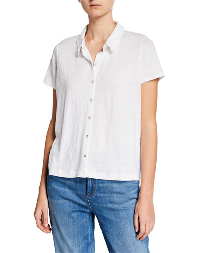 Eileen Fisher Plus Size Short-Sleeve Button-Front Organic Linen Jersey Top