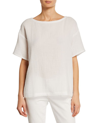 Petite Short-Sleeve Cotton Gauze Top