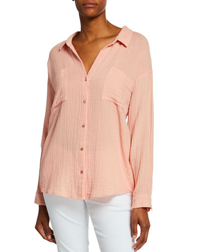 Petite Button-Down Long-Sleeve Organic Cotton Gauze Shirt