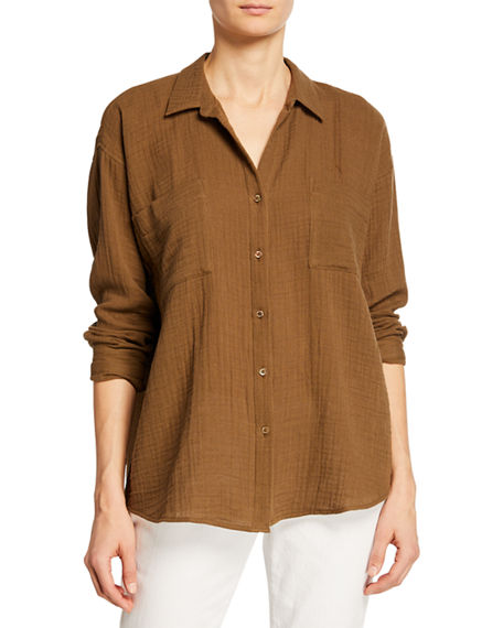 Eileen Fisher T-shirts BUTTON-DOWN LONG-SLEEVE ORGANIC COTTON GAUZE SHIRT