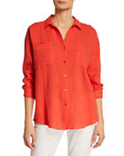 Eileen Fisher Spread-Collar Button-Down Long-Sleeve Cotton Gauze